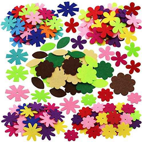 SOOKOO 5 Shapes 150 PCS Felt Flowers Fabric Flower Embellishments for DIY Crafts Sewing Handcraft, Assorted Color