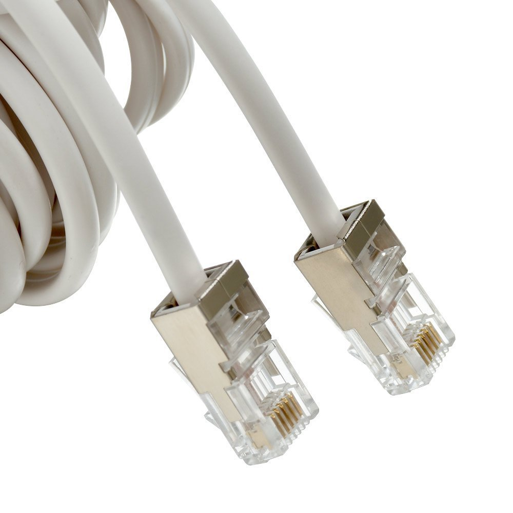 URBEST 50 Feet Au-Plating-More durable White Telephone Extension Cord Cable Line Wire GLE GLE-20