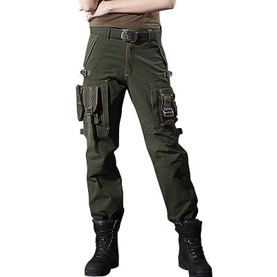 chouyatou Women's Stylish Military Multi-Pockets Wild Cargo Pants at Women's Clothing store