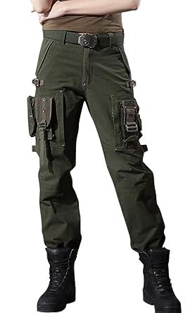 83aa29c6ffd chouyatou Women s Stylish Military Multi-Pockets Wild Cargo Pants (X-Small