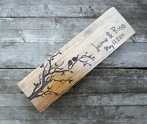 Custom wooden love birds personalized wine box for your wedding or anniversary