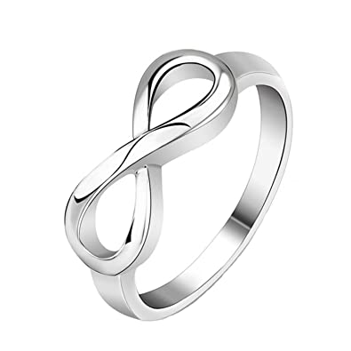 Amazoncom Silver Stainless Steel Infinity Symbol Wedding Band