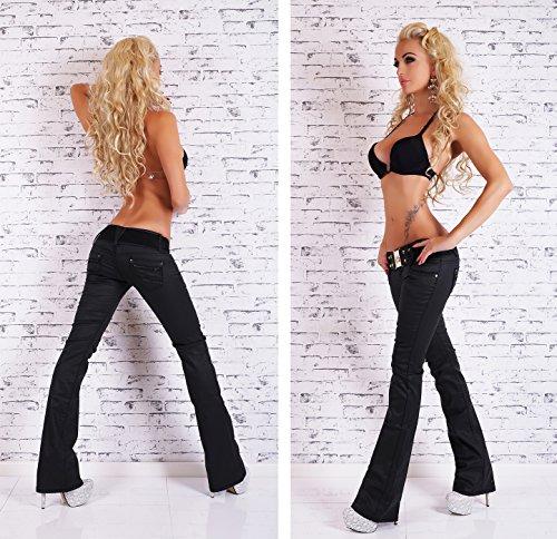 Glanz Damen Bootcut Stretch Jeans Schlag Hose im Wetlook schwarz Größe 38