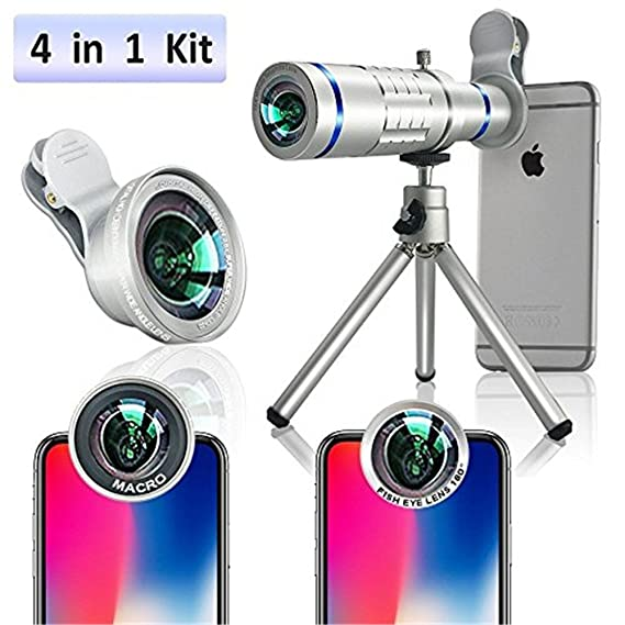 first rate 6caeb 020fd Lingwei Telephoto Lens for iPhone, 10X iPhone 6/6s/6 plus/6s Plus Camera  Telephoto Lens/Tripod/Phone Holder/Hard Case/Bag/Cleaning Cloth (10× Lens  ...