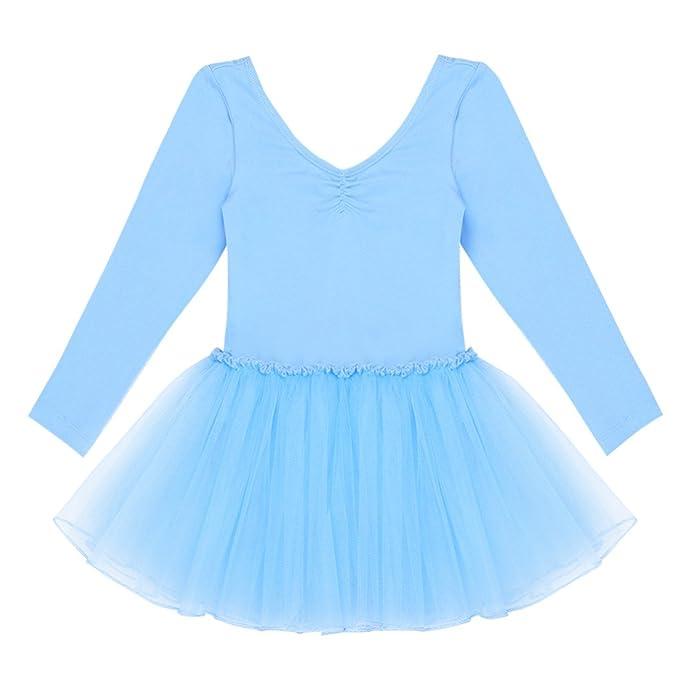FEESHOW Tutú Ballet Vestido Clásico Maillot ballet nina leotardo de manga larga para gimnasia para Niñas