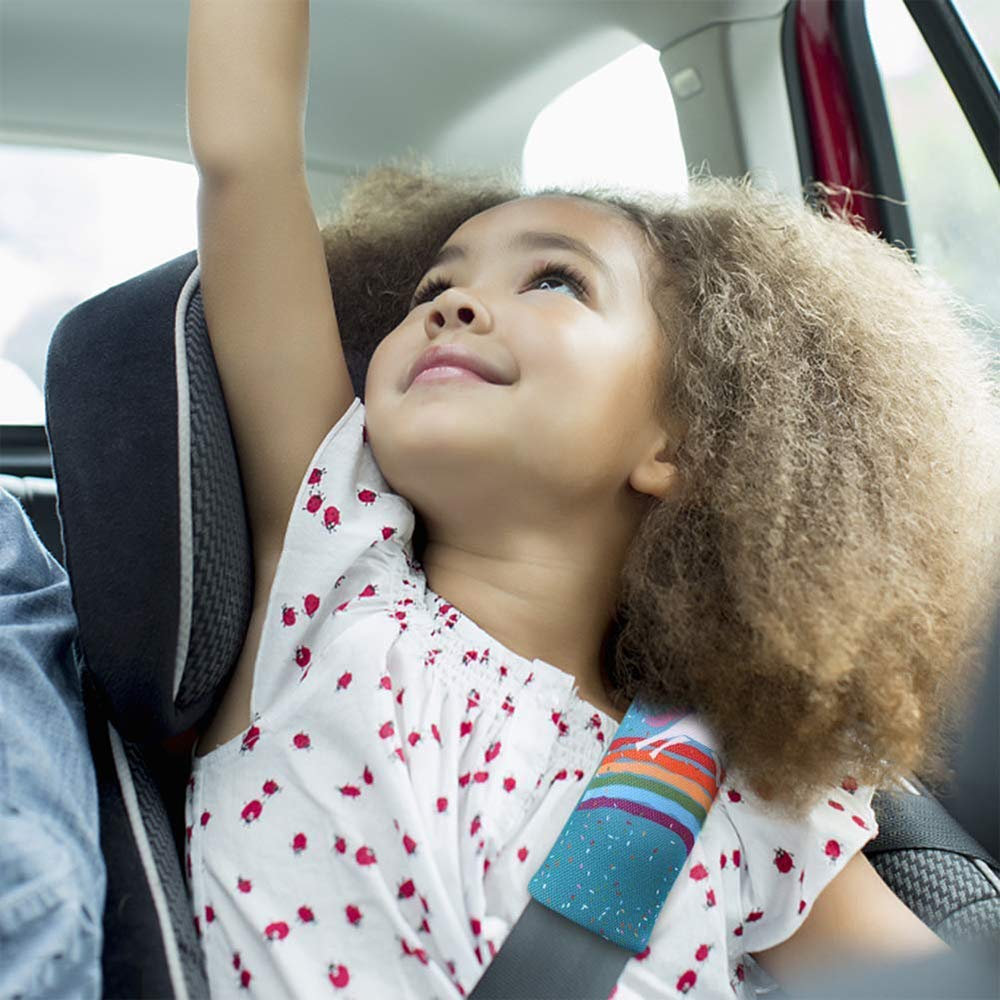 Rainbow horse Kids Car Seat Belts Shoulder Pad Kids Cartoon Cartoon Seatbelt Cover Shoulder Pad Safety Cushion Car Seat Head Support 2PCS