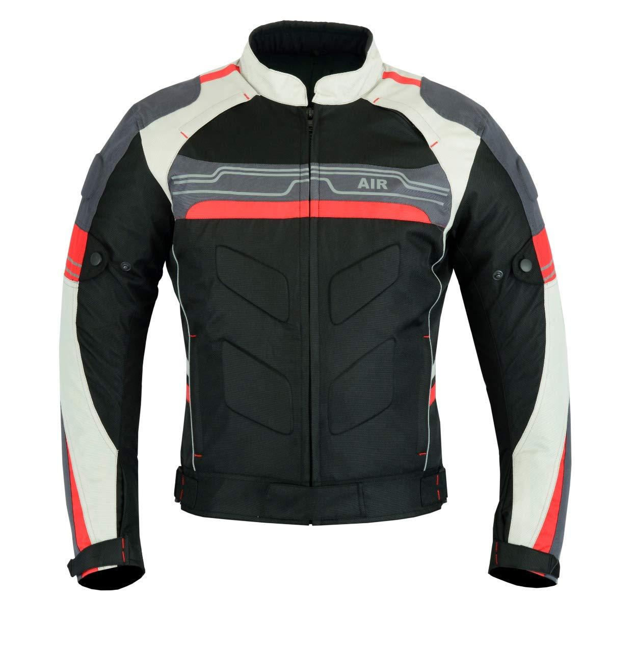 color negro//rojo Chaqueta impermeable de alta protecci/ón para motocicleta CJ-9412