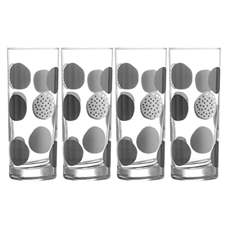 6 x RAVENHEAD RAINBOW STRIPES SPOTS DECORATED TUMBLER HI BALL DRINKING GLASSES