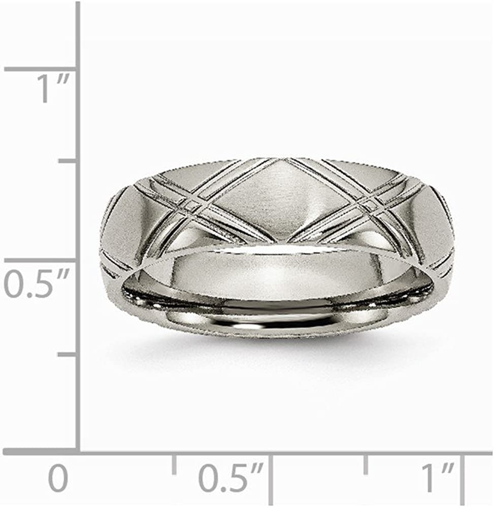 Titanium Criss-Cross Design 6mm Brushed and Polished Band