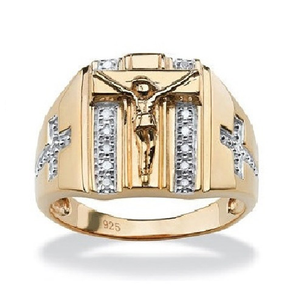 Silvercz Jewels Men's 14k Gold Fn Sterling Silver 1/10 Ct Round Diamond Crucifix & Cross Ring