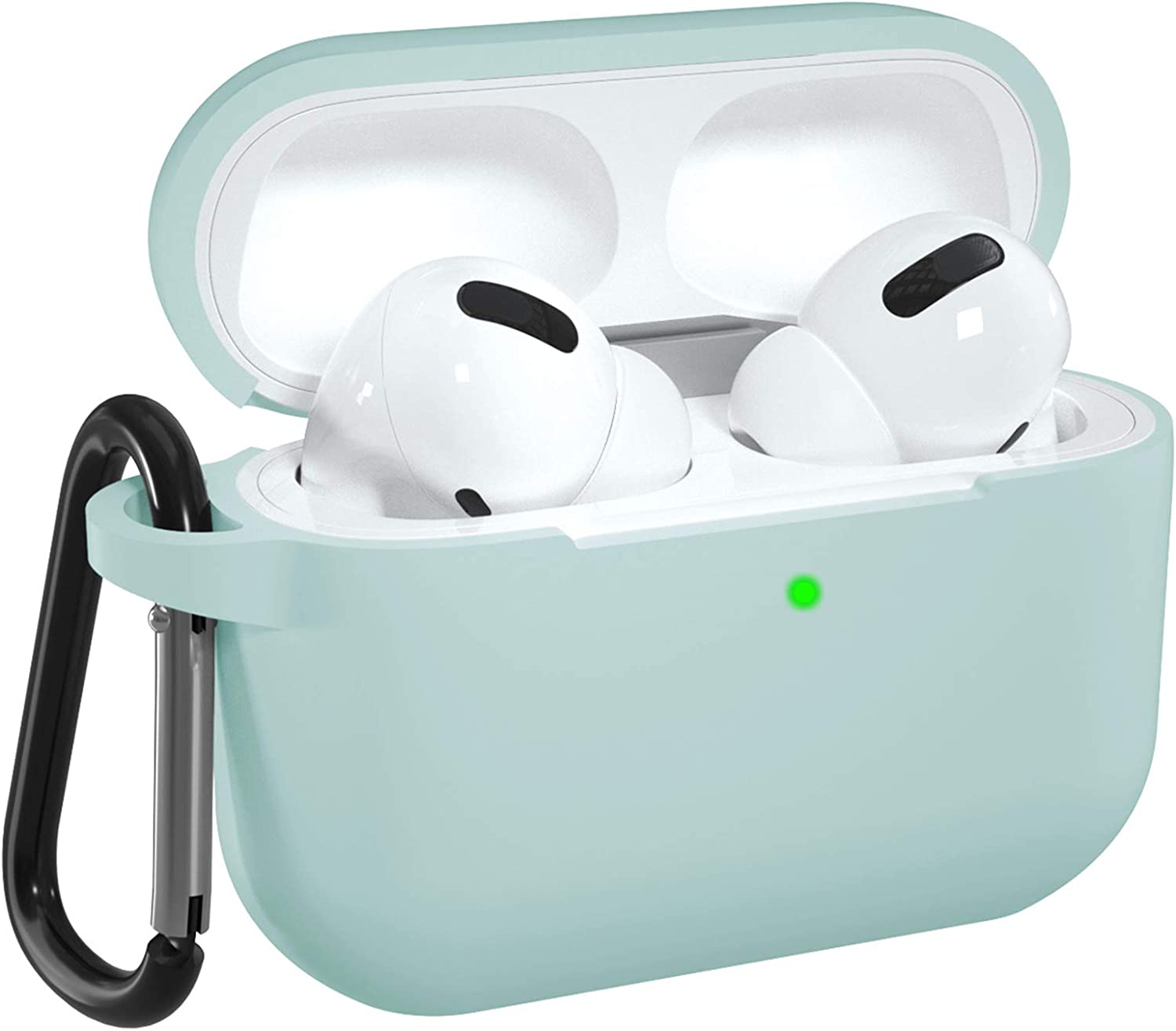 DGege Silicone Case Cover Compatible with Apple AirPods Pro, Protective Case with Carabiner for Airpods 3 (Front LED Visible), Blue Green