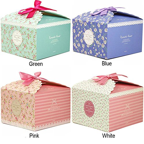 Chilly Gift Boxes, Set of 12 Decorative Treats Boxes, Cake, Cookies, Goodies, Candy and Handmade Bath Bombs Shower Soaps Gift Boxes for Christmas, Birthdays, Holidays, Weddings (Flower Patterned) Holiday Treats Gift