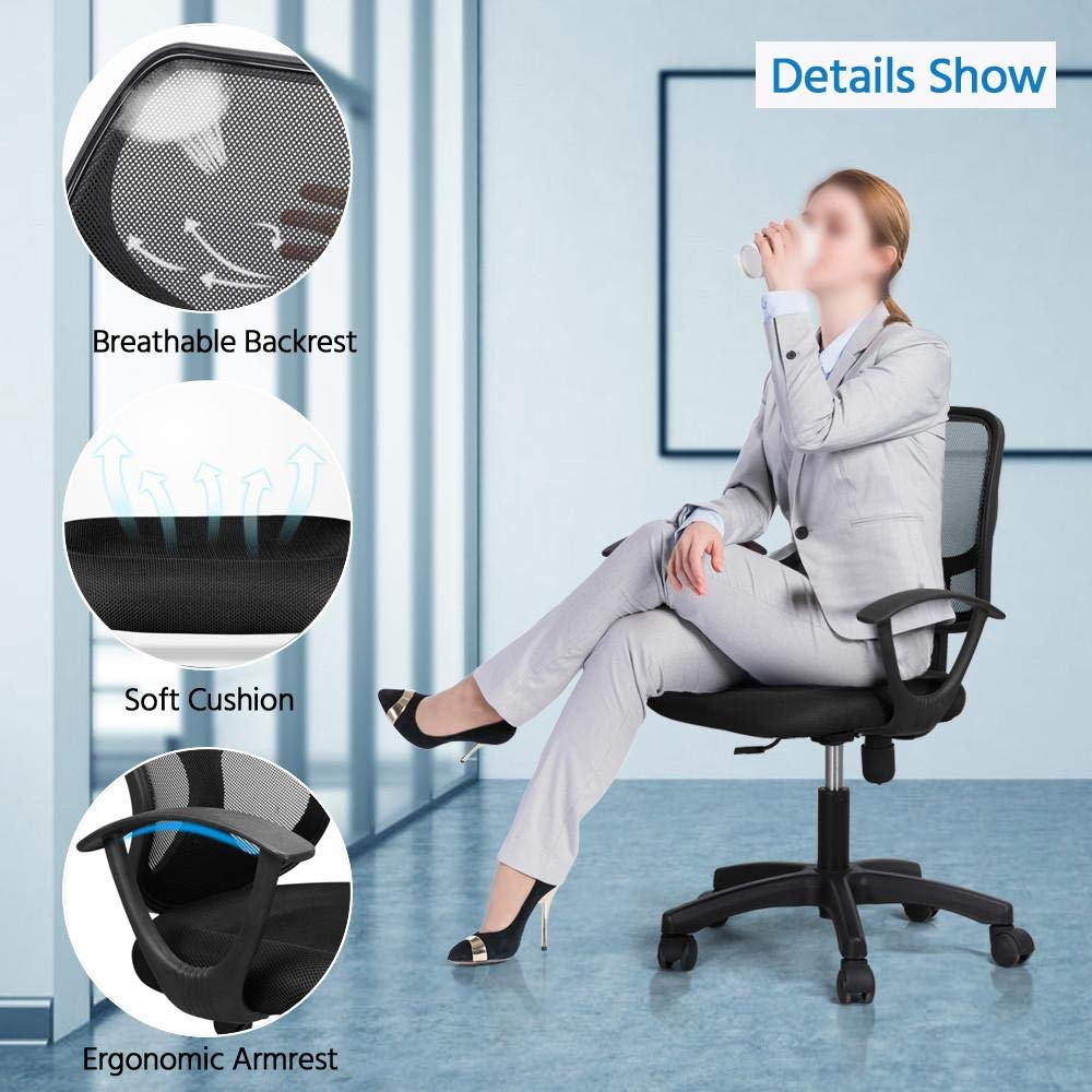 Yaheetech Desk Chiar Office Chair Ergonomic Mid-Back Mesh Computer Chair Height Adjustable with Armrest Swivel Office Chair Lumbar Support Swivel Chair (Black) by Yaheetech (Image #3)