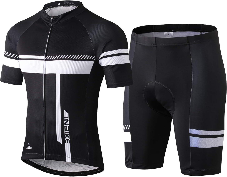 INBIKE Men's Cycling Jersey Set Bib Short Sleeve Bike Shirt with 3D Padded: Clothing