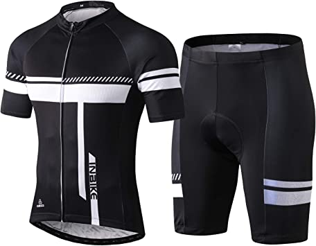 Mens Summer Short Sleeve Cycling Suits Set with Bib Shorts Suit for Men Bike Clothes Set