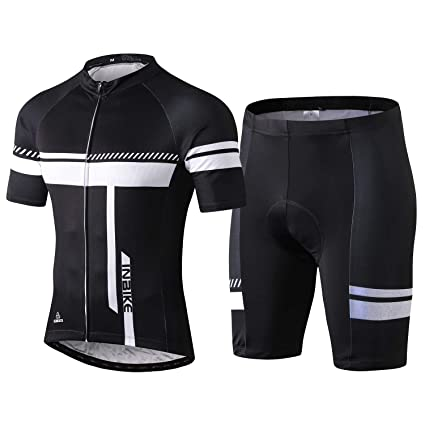 d86658f1b INBIKE Cycling Jersey Men Set Short Sleeve Bike Shirt Gel Padded Shorts for  Summer Black M