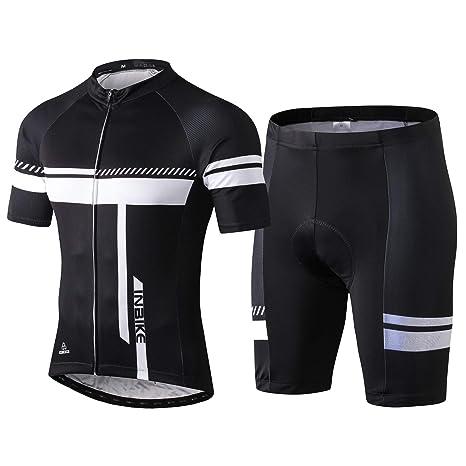 d99de6e7d6f2 Inbike Completo Maglia Ciclismo per Uomo alla Moda Maniche Corte  Estive+Pantaloncini Corti Ciclismo MTB