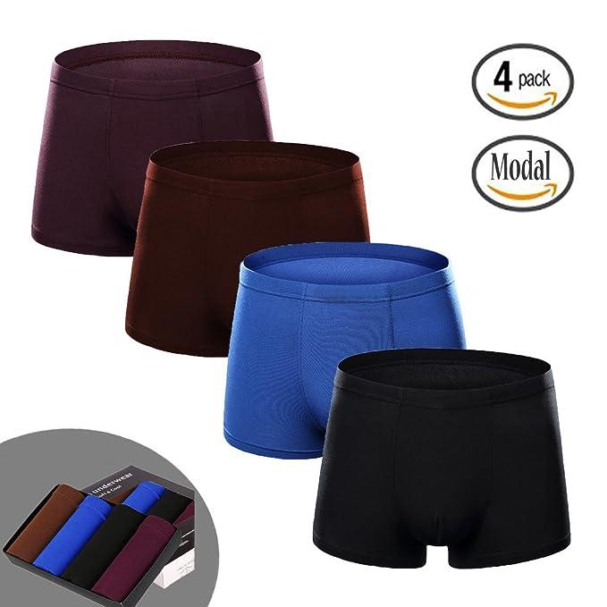 Hirun para Hombre – Pack de 4 Calzoncillos Ropa Interior Stretch Trunk Classics – Caja de