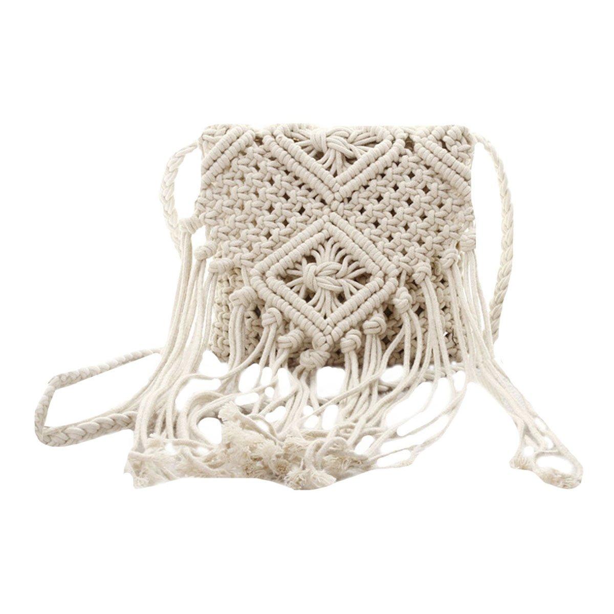 Monique Girls Women Fringed Crochet Cotton Cross-body Bag Satchel Bohemian Tassel Handbag Summer Beach Sling Bag Shoulder Bag White