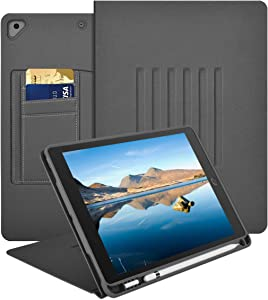 iPad 10.2 Case for iPad 7th Generation 2019, iPad Air 10.5, iPad Pro 10.5 2017, Multiple Angles Magnetic Stand Cover with Pencil Holder & Minimalist Pocket+Auto Wake/Sleep (Smoke Gray)