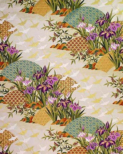 Cranes over Floral Landscape: Cream with Gold Metallic As...