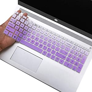 """Keyboard Cover for HP Envy X360 15.6 Keyboard Cover for HP Envy x360 15.6""""/ 2018-2020 HP Pavilion 15 Series/ 2018-2020 HP Envy 17.3"""" Laptop Keyboard Skin Protector, Ombre Purple"""