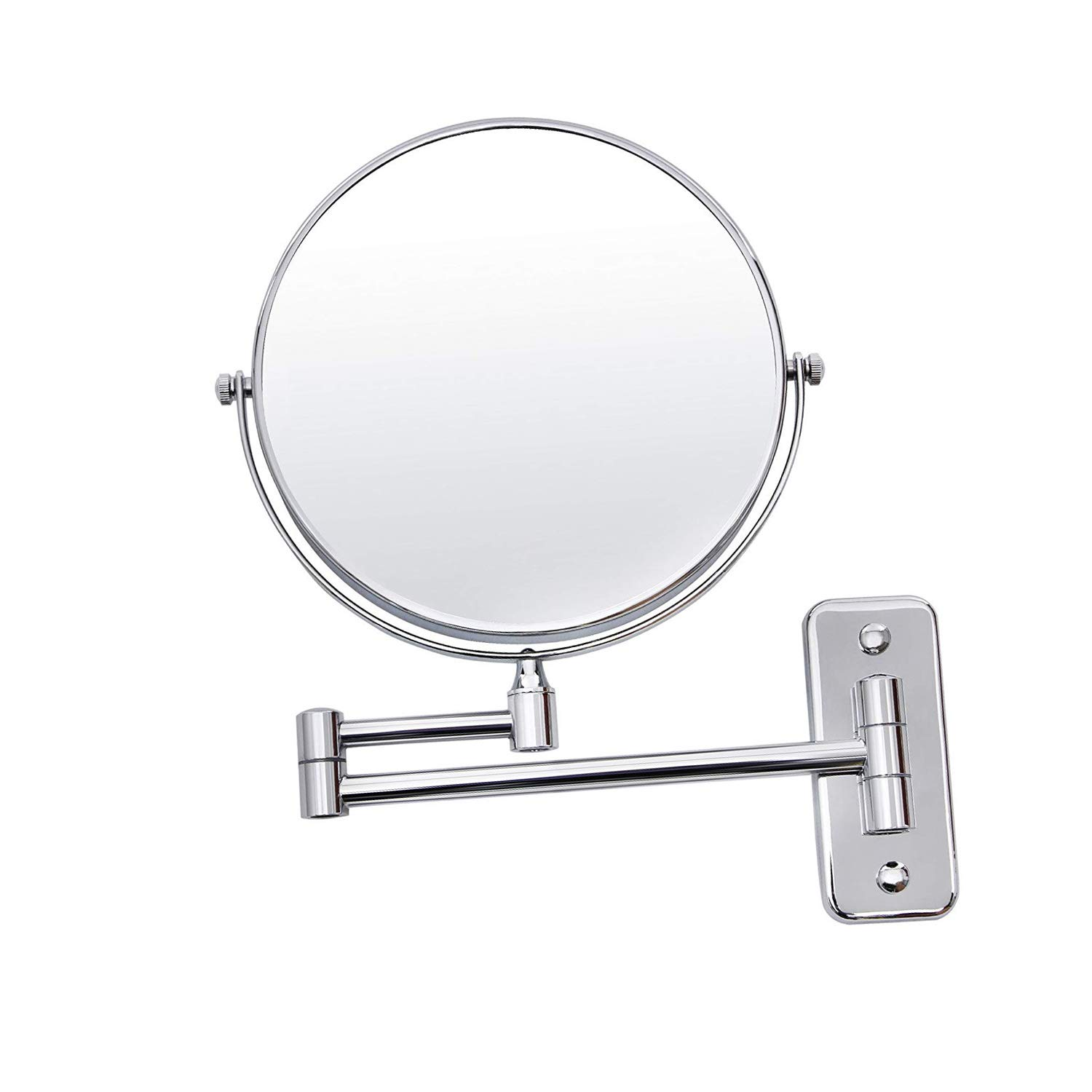 Xelparuc 8'' Two-Sided Wall Mount Makeup Mirror 7x Cosmetic Mirror 360° Swivel Extendable