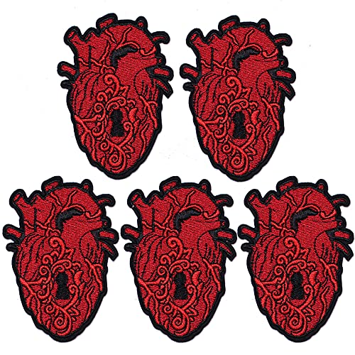 TACVEL X-Ray Human Anatomical Heart Appliques Embroidered DIY Sew on / Iron on Patches for Jackets, Backpacks, Caps, Jeans to Repair Holes / Logo