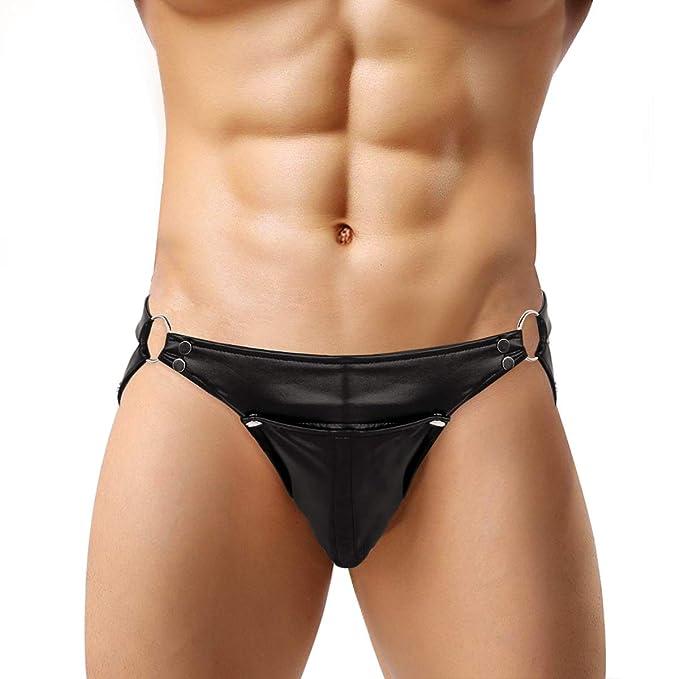 196ad1782bbc ACSUSS Men's Leather Briefs Sexy String Buckled Pouch Open Back Thong  Underwear Black Medium(Waist