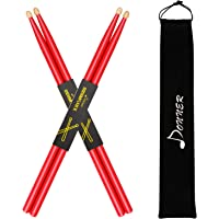 Donner Red Drum Sticks 5A Classic Maple Wood 2 Pair with Carrying Bag