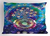 Ambesonne Mandala Pillow Sham, Tree of Life Floral Style Mandala Spiritual Artwork Meditation Peace Spa Design, Decorative Standard King Size Printed Pillowcase, 36 X 20 inches, Blue Purple