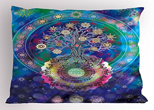 Ambesonne Mandala Pillow Sham, Tree of Life Floral Style Mandala Spiritual Artwork Meditation Peace Spa Design, Decorative Standard Queen Size Printed Pillowcase, 30 X 20 Inches, Blue Purple by Ambesonne (Image #2)