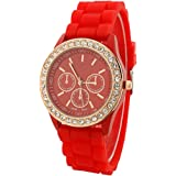Fashion Silicone Golden Crystal Stone Quartz Ladies Jelly Wrist Watch Red