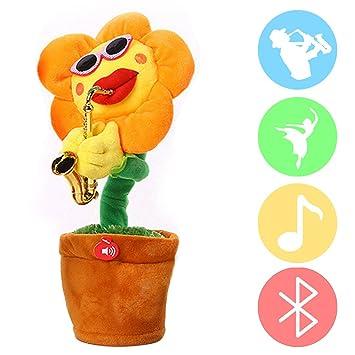 Webeauty Cantando y Bailando Flor Encantadora Girasol con Saxofón Peluche Peluche Peluches Divertidos Juguetes Eléctricos para
