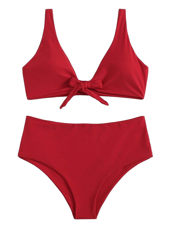 Detachablered SweatyRocks Women's Sexy Bikini Swimsuit Tie Knot Front Swimwear Set
