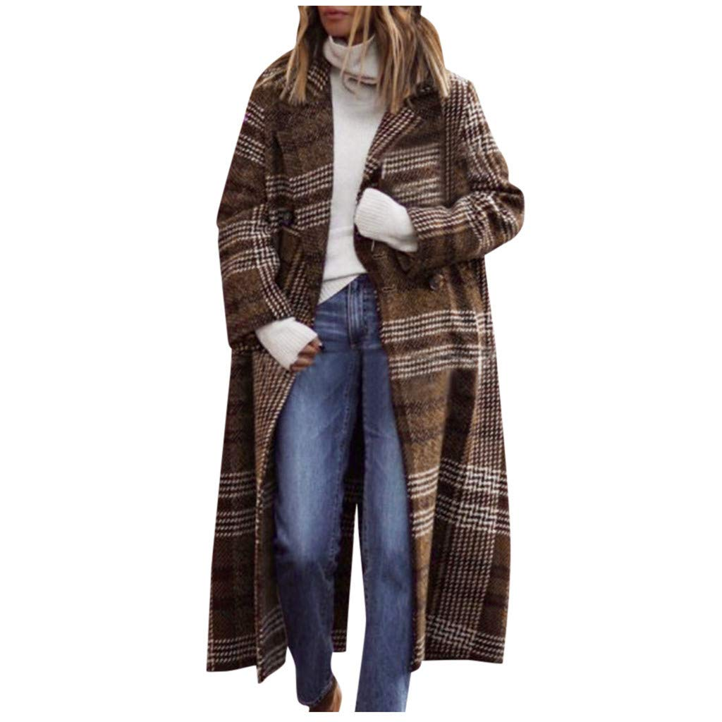 FILOL Women Long Sleeve Plaid Button Long Coat Shawl Windbreaker Long Overcoat Tops Jacket Brown by FILOL apparel