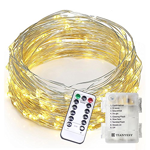 TIANYESY Update Material 100 LEDs String Lights,Copper Wire Lights (Battery, Waterproof, 8 Modes, Warm White, 33 ft)With Remote Control, Outdoor Rope Lights, Fairy Lights, String (Halloween Decorated Mantels)
