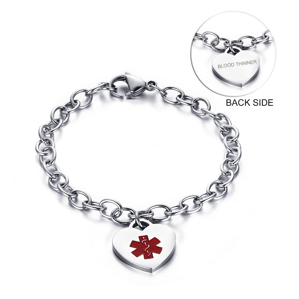 VNOX Stainless Steel Medical Alert ID Heart Charm BLOOD THINNER Identification Bracelet for Women,7.5''