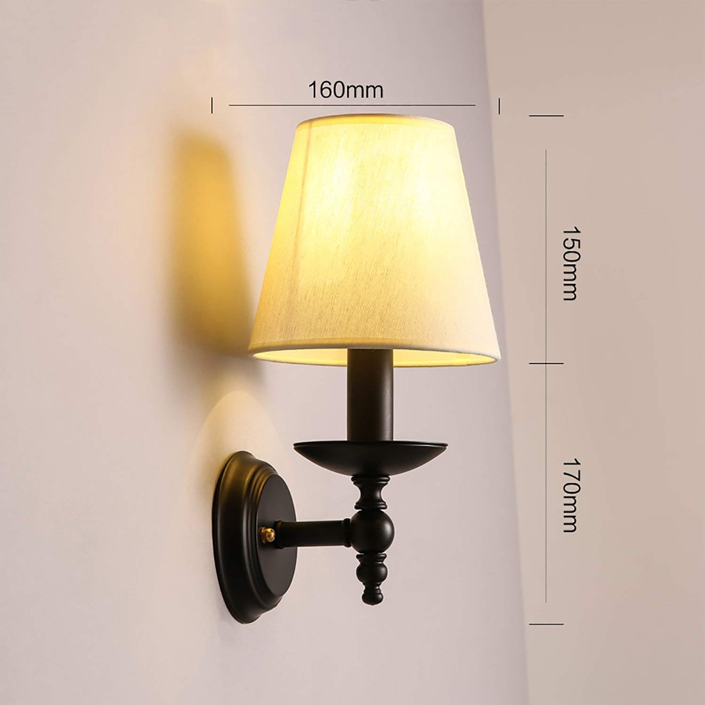 YANG Vintage Loft Wall Lamp Villa Wall Lamp European Retro Aisle Corridor Bed Warm Cloth Iron Single Head Wall Lamp