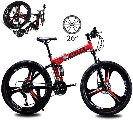 LXDDP Bicicleta montaña Acero al Carbono Bicicleta Plegable Tenedor Suspensión 3 radios Ruedas Frenos Doble Disco Bicicleta Carreras Bicicleta Ciclismo al Aire Libre: Amazon.es: Deportes y aire libre