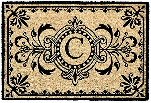 Liora Manne Natura Tropical Leaves Border Black Outdoor Welcome Coir Door Mat, 2 x 3