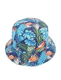 BIBITIME Flamingo Bucket Hat Women Summer Beach Sunhat Men Canvas Fisherman Cap