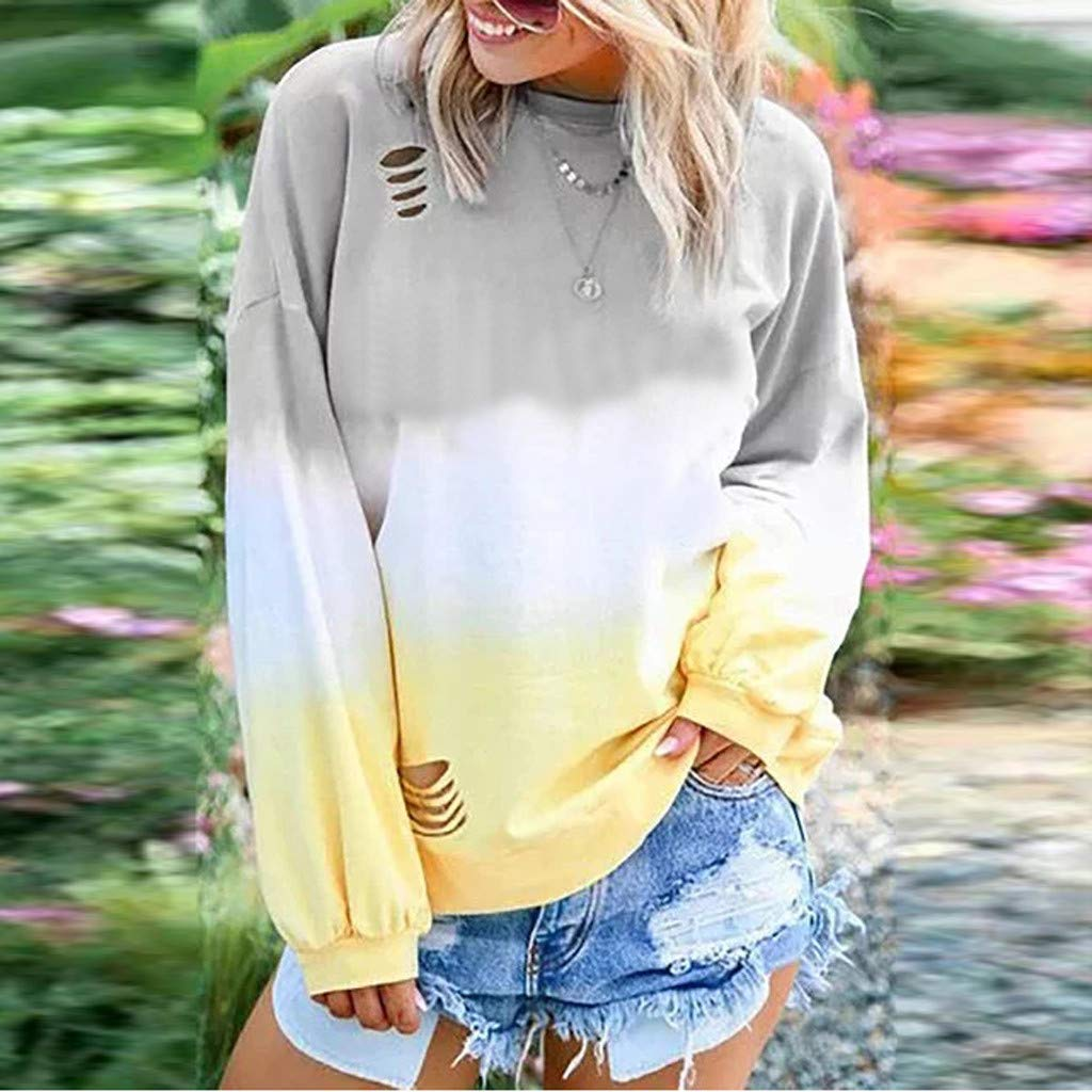 Hotkey Women Shirts Long Sleeve Blouse Dyeing Color Pullover Tunic Top Hoodie Sweatshirt Plus Size Outwear