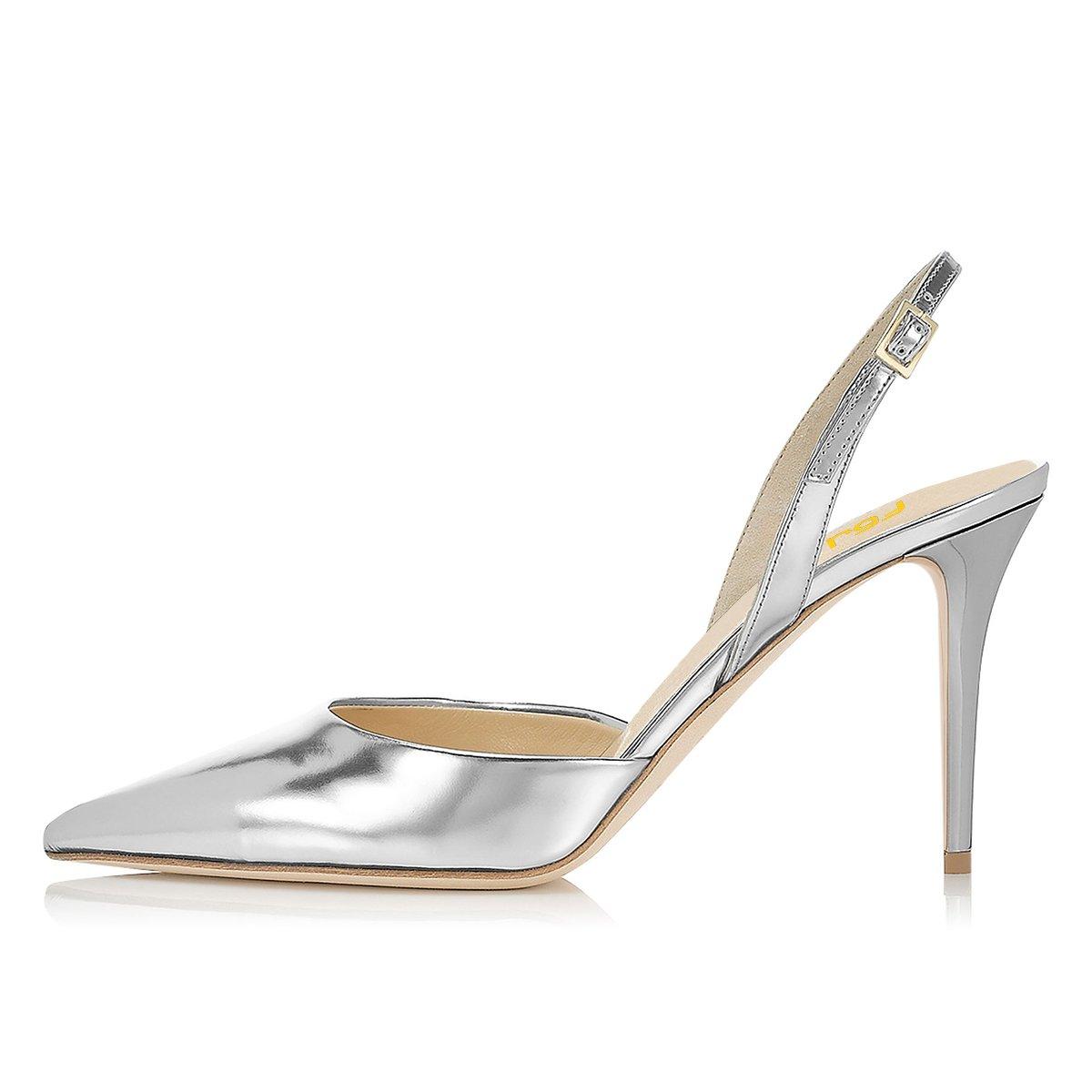 FSJ Women Pointed Toe Pumps Slingback Stilettos Heels Sandals Ankle Strap Shoes Size 7 Silver by FSJ (Image #2)