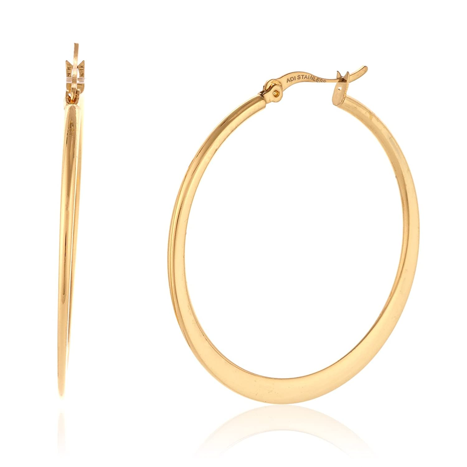 Rounded Gold Plated Hoop Earrings in Gift Box (39mm Diameter)