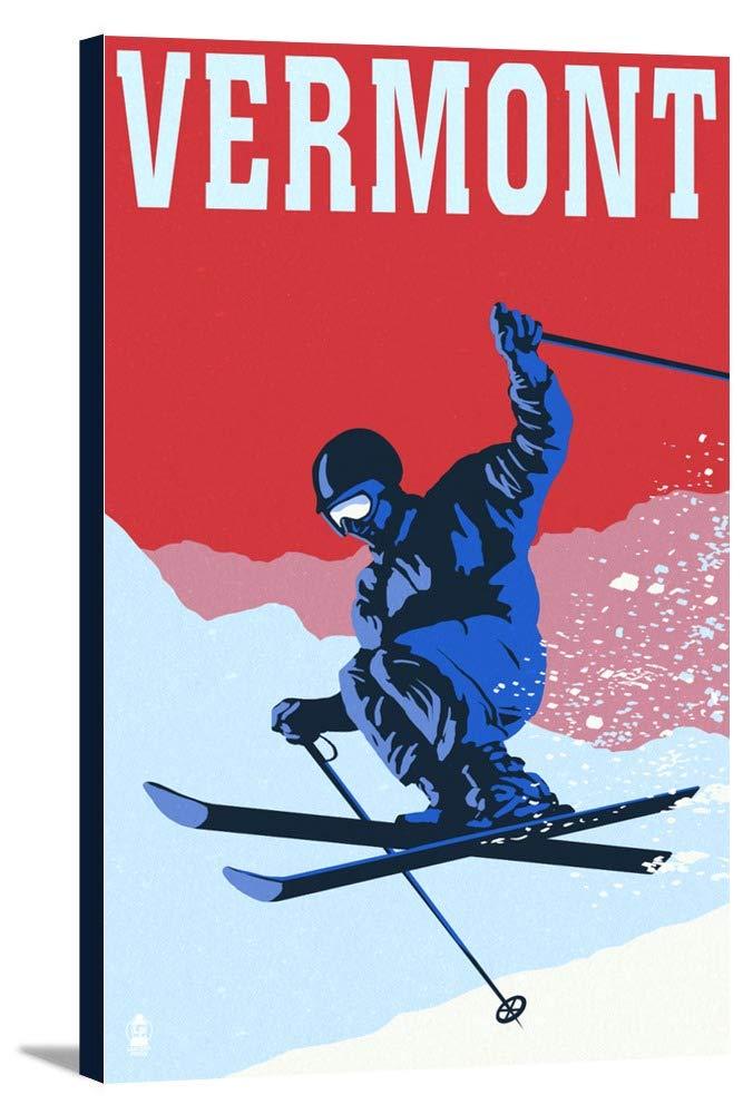 Vermont – Colorblocked Skier 24 x 36 Gallery Canvas LANT-3P-SC-47940-24x36 24 x 36 Gallery Canvas  B0184AVPBK