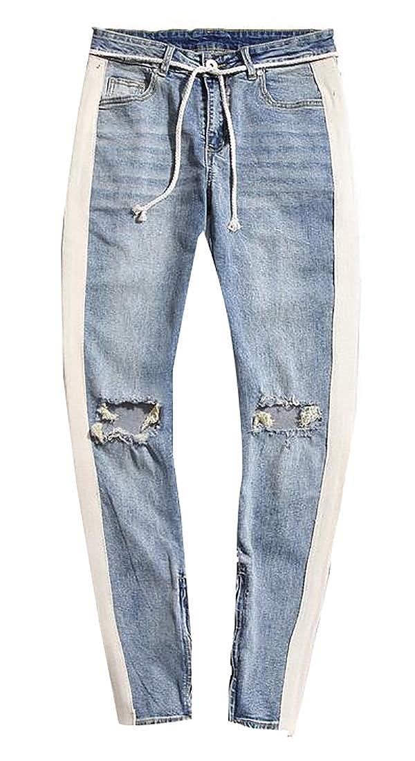 CBTLVSN Mens Stylish Jeans Punk Ankle-Zip Destroyed Slim Fit Denim Pants