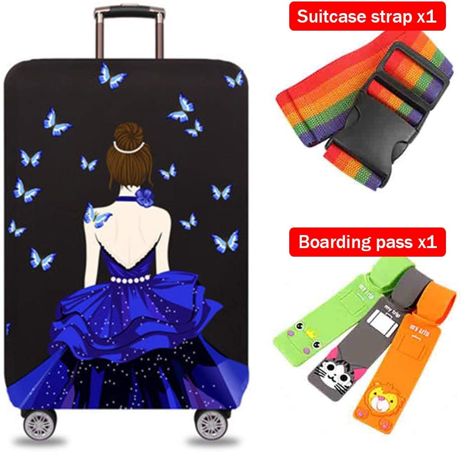 Suitcase Cover Home Non-Slip Anti-Fall Pull Bar Case Cover Polyester Breathable Shockproof Thick Wear-Resistant Luggage Cover