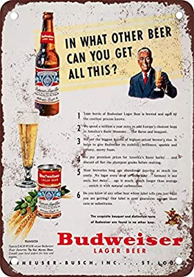 1950 Budweiser Lager Beer Vintage Look Reproduction Metal Tin Sign 12X18 Inches