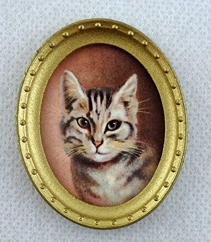 Melody Jane Dolls Houses House Miniature Accessory Cat Portrait Picture Painting In Oval Gold Frame